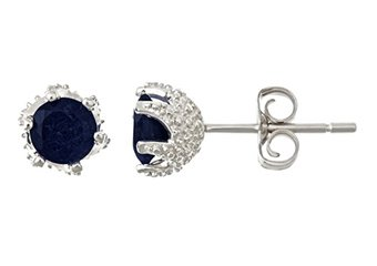 1.4CT SAPPHIRE STUD EARRINGS 5mm ROUND 925 SILVER 6-PRONG SEPTEMBER BIRTH STONE