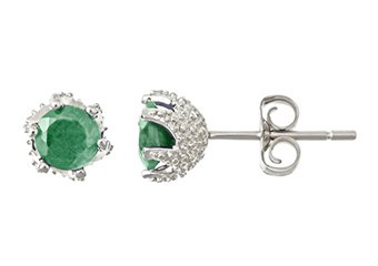 .96 CARAT EMERALD STUD EARRINGS 5mm ROUND 925 SILVER 6-PRONG MAY BIRTH STONE