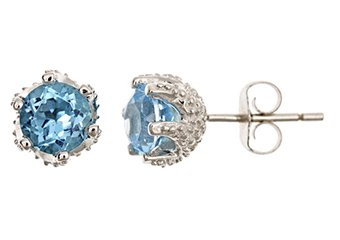 2 CARAT BLUE TOPAZ STUD EARRINGS 6mm ROUND SILVER 6-PRONG DECEMBER BIRTH STONE