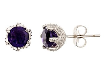 1.40CT AMETHYST STUD EARRINGS 6mm ROUND 925 SILVER 6-PRONG FEBRUARY BIRTH STONE