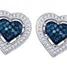 .40 CARAT HEART SHAPE ROUND BLUE DIAMOND STUD HALO EARRINGS WHITE GOLD