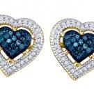 .40 CARAT HEART SHAPE ROUND BLUE DIAMOND STUD HALO EARRINGS YELLOW GOLD