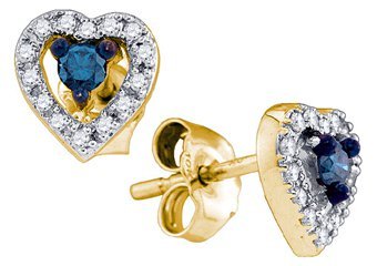 .21 CARAT HEART SHAPED ROUND BLUE DIAMOND STUD EARRINGS YELLOW GOLD