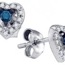 .21 CARAT HEART SHAPED ROUND BLUE DIAMOND STUD HALO EARRINGS WHITE GOLD
