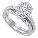 WOMENS DIAMOND ENGAGEMENT HALO RING WEDDING BAND BRIDAL SET PEAR CUT SHAPE