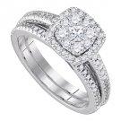 WOMENS DIAMOND ENGAGEMENT HALO RING WEDDING BAND BRIDAL SET CUSHION CUT SHAPE