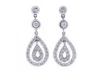 WOMENS 1 CARAT BRILLIANT ROUND DIAMOND DANGLE EARRINGS WHITE GOLD