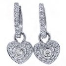WOMENS 3/4 CARAT HEART SHAPED DIAMOND DANGLE EARRINGS 14KT WHITE GOLD