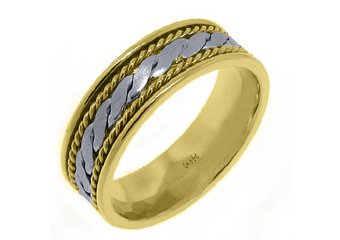 MENS WEDDING BAND RING 14KT TWO-TONE YELLOW WHITE GOLD BRAIDED 7mm
