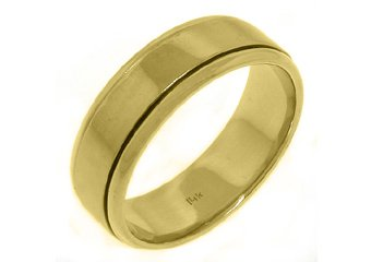 MENS WEDDING BAND ENGAGEMENT RING 14KT YELLOW GOLD HIGH GLOSS FINISH 7mm