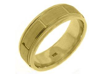 MENS WEDDING BAND ENGAGEMENT RING 14KT YELLOW GOLD BRUSHED SAND FINISH 7mm