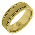 MENS WEDDING BAND ENGAGEMENT RING 14KT YELLOW GOLD HAMMERED FINISH 7.5mm