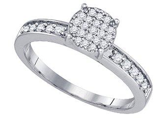 .26 CARAT WOMENS DIAMOND ENGAGEMENT RING BRILLIANT ROUND 10K WHITE GOLD
