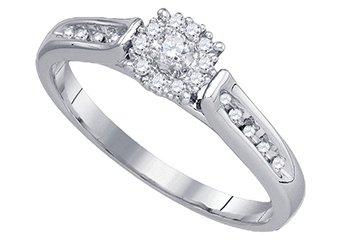 .25 CARAT WOMENS DIAMOND ENGAGEMENT RING BRILLIANT ROUND 14K WHITE GOLD
