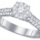 1.45 CARAT WOMENS DIAMOND ENGAGEMENT RING BRILLIANT ROUND 14K WHITE GOLD