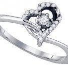 .11 CARAT WOMENS DIAMOND PROMISE LOVE RING HEART SHAPE 10K WHITE GOLD