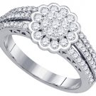 .96 CARAT WOMENS DIAMOND ENGAGEMENT FLOWER RING BRILLIANT ROUND 10K WHITE GOLD