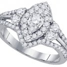 1.01 CARAT WOMENS DIAMOND ENGAGEMENT RING MARQUISE CUT SHAPE WHITE GOLD