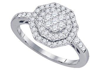 .62 CARAT WOMENS DIAMOND ENGAGEMENT RING OCTAGON SHAPE WHITE GOLD