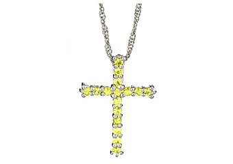 .80 CARAT WOMENS YELLOW SAPPHIRE CROSS PENDANT 925 STERLING SILVER