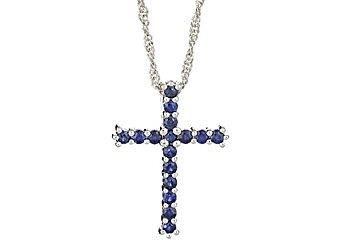 .80 CARAT WOMENS BLUE SAPPHIRE CROSS PENDANT 925 STERLING SILVER