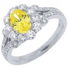 2 CARAT WOMENS FANCY YELLOW DIAMOND ENGAGEMENT HALO RING OVAL SHAPE WHITE GOLD