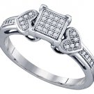 WOMENS DIAMOND PROMISE RING PRINCESS SQUARE CUT HEART 925 STERLING SILVER