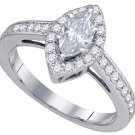 1 CARAT WOMENS DIAMOND ENGAGEMENT HALO RING MARQUISE CUT SHAPE WHITE GOLD