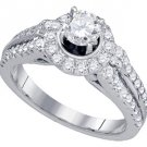 1.24 CARAT WOMENS DIAMOND ENGAGEMENT HALO RING BRILLIANT ROUND 14K WHITE GOLD