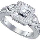 1 CARAT WOMENS DIAMOND ENGAGEMENT HALO RING BRILLIANT ROUND 14K WHITE GOLD