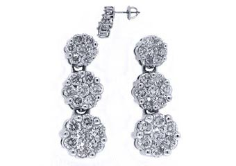 WOMENS 2.30 CARAT BRILLIANT ROUND DIAMOND DANGLE EARRINGS WHITE GOLD