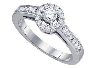 .51 CARAT WOMENS DIAMOND ENGAGEMENT HALO RING BRILLIANT ROUND CUT WHITE GOLD