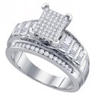 .66 CARAT WOMENS DIAMOND ENGAGEMENT RING PRINCESS SQUARE CUT 925 STERLING SILVER