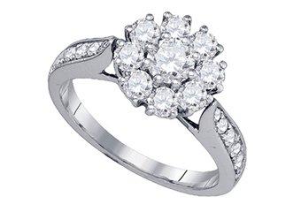 1.51 CARAT WOMENS DIAMOND ENGAGEMENT FLOWER RING BRILLIANT ROUND CUT WHITE GOLD