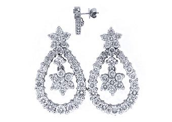 WOMENS 2.25 CARAT BRILLIANT ROUND DIAMOND DANGLE EARRINGS WHITE GOLD
