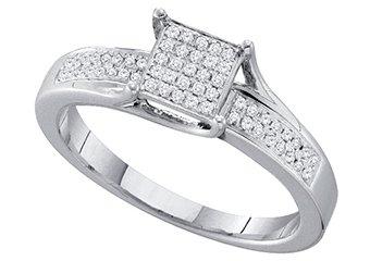 .15 CARAT WOMENS DIAMOND ENGAGEMENT RING PRINCESS CUT SQUARE WHITE GOLD