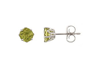 1CT PERIDOT STUD EARRINGS 5mm ROUND 925 SILVER AUGUST BIRTH STONE