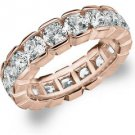 DIAMOND ETERNITY BAND WEDDING RING ROUND 14KT ROSE GOLD 4.00 CARAT BOX SETTING