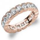 DIAMOND ETERNITY BAND WEDDING RING ROUND 14KT ROSE GOLD 3.00 CARAT BOX SETTING