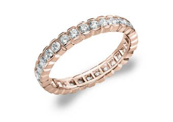 DIAMOND ETERNITY BAND WEDDING RING ROUND 14KT ROSE GOLD 1.00 CARAT BOX SETTING