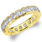 DIAMOND ETERNITY BAND WEDDING RING ROUND 14KT YELLOW GOLD 2.00 CARAT BOX SETTING