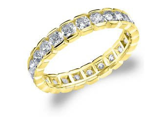 DIAMOND ETERNITY BAND WEDDING RING ROUND 14KT YELLOW GOLD 1.50 CARAT BOX SETTING