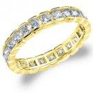 DIAMOND ETERNITY BAND WEDDING RING ROUND 14KT YELLOW GOLD 1.50 CARAT BOX SETTING