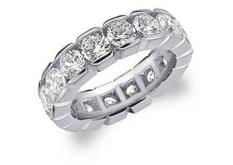 DIAMOND ETERNITY BAND WEDDING RING ROUND 14KT WHITE GOLD 5.00 CARAT BOX SETTING