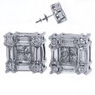3/4 CARAT PRINCESS ROUND BAGUETTE DIAMOND STUD EARRINGS 14KT WHITE GOLD