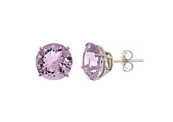 9.9 CARAT PINK AMETHYST STUD EARRINGS 11mm BRILLIANT ROUND CUT 925 SILVER