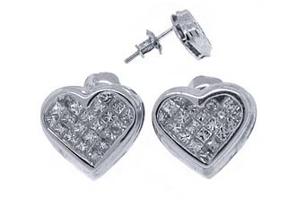 1/2 CARAT HEART SHAPE PRINCESS SQUARE CUT DIAMOND STUD EARRINGS WHITE GOLD