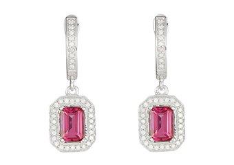 2.75 CARAT PINK TOPAZ DIAMOND DANGLE EARRINGS EMERALD CUT