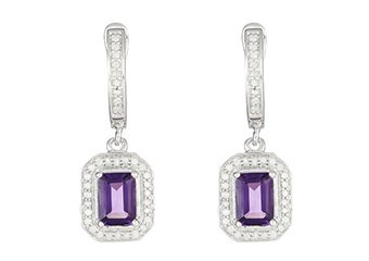 2.35 CARAT AMETHYST DIAMOND DANGLE EARRINGS EMERALD CUT FEBRUARY BIRTHSTONE