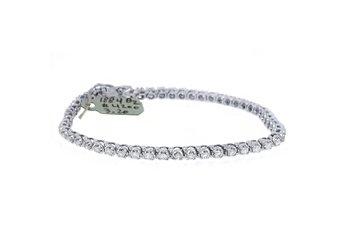 "WOMENS DIAMOND TENNIS LINK BRACELET 3.20 CARAT ROUND CUT 14KT WHITE GOLD 8"" INCH"